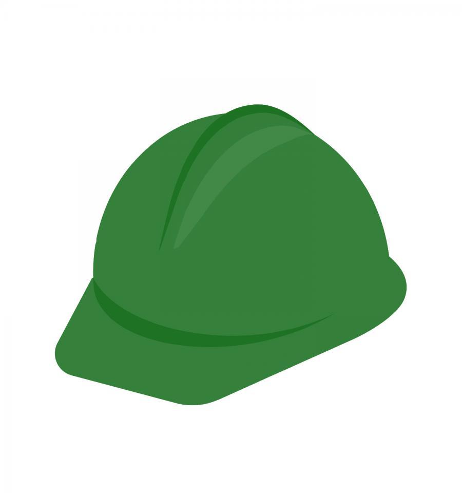 Arbeitssicherheit - grüner Helm